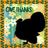 Thanksiving illustration. Thanksgiving illustration with turkey silhouette and floral abstract background and hats frame Stock Photography