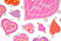 Thankyou stickers. Colorful valentine thankyou stickers - pink stock photos