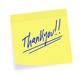 Thankyou sticky note. White background. Stock Image