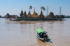 Thanlyin, Myanmar - February 20, 2014: Yele Paya, the floating p Royalty Free Stock Photo