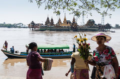 Thanlyin, Myanmar - February 20, 2014: Yele Paya, the floating p Royalty Free Stock Image