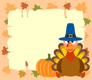 Thanskgiving  background with turkey and pumpkin Stock Images