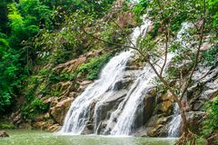 Thanthip Waterfall in the green forest with streamed water flowing on the step of rocks at Lom Sak District, Phetchabun province,. Thailand stock photo