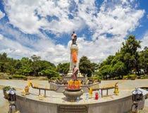 Thao Suranari statue with beautiful sky at Thao Suranari Park,Ban Nong Sarai,Pak Chong,Nakhon Ratchasima,Thailand.Non English text Royalty Free Stock Images