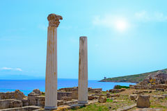 Tharros columns on a clear day Stock Photos