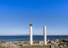 Tharros - oude stad en vroeger bisdom op de westkust van Sardinige, Italië royalty-vrije stock afbeeldingen