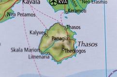 Thasos или Thassos на карте Стоковая Фотография RF