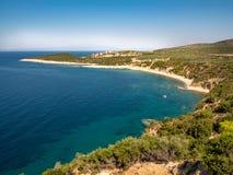 Thasos Island coastline aerial view panorama stock image
