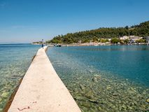 Thasos main port, Limenas royalty free stock image