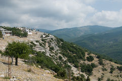 Thasos mountain village. Cloudy weather on top of the Thasos island, Greece Stock Photography