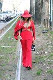Thassia naves Streetstyle milano,milan fashion week autumn winter 2015 2016 Stock Images