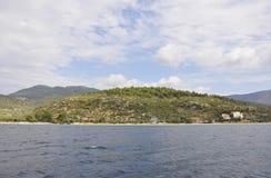 Thassos海岛海滩在希腊 图库摄影