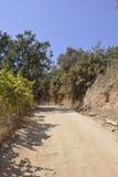Thassos, 8月19日:路线到从Thassos海岛的自然水池Giola在希腊 库存照片