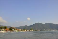 Thassos, 8月19日:从Thassos海岛的日出海滩在希腊 免版税库存图片