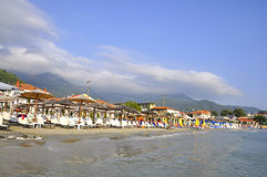 Thassos, 8月19日:从Thassos海岛的早晨海滩在希腊 免版税库存照片