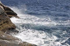 Thassos, 8月19日:从Thassos海岛的海场面在希腊 库存图片