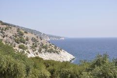 Thassos, 8月19日:从Thassos海岛的海岛海湾在希腊 免版税库存图片