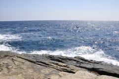 Thassos, 8月19日:从Thassos海岛的海风景在希腊 免版税库存图片