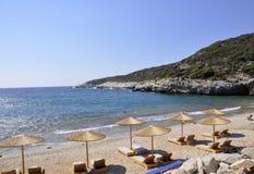 Thassos, 8月19日:从Thassos海岛的海滩场面在希腊 库存图片