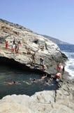 Thassos, 8月19日:Giola从Thassos海岛的自然水池在希腊 库存图片