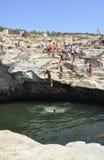 Thassos, 8月19日:Giola从Thassos海岛的自然水池在希腊 免版税库存图片