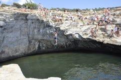 Thassos, 8月19日:Giola从Thassos海岛的自然水池在希腊 免版税库存照片