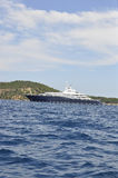 Thassos, August 21st: Cruise Ship on the Aegean Sea near Thassos island in Greece Royalty Free Stock Photo