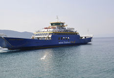 Thassos, August 21st: Ferryboat on the Aegean Sea near Thassos island in Greece Stock Image