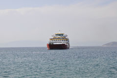 Thassos, August 21st: Ferryboat on the Aegean Sea near Thassos island in Greece Stock Images