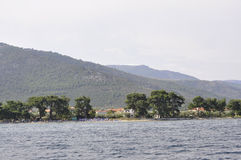 Thassos, August 21st: Foreshore of Thassos island from Cruise around in Greece stock photography