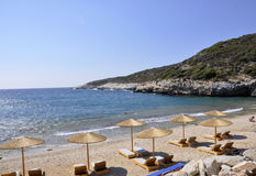 Thassos, August 19th: Beach scene from Thassos island in Greece Stock Images