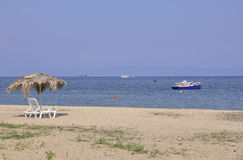 Thassos,August 20th: Potos village Beach from Thassos island in Greece Royalty Free Stock Photo