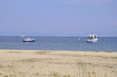 Thassos,August 20th: Potos village Beach from Thassos island in Greece Royalty Free Stock Photography
