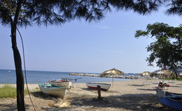Thassos, August 20th: Potos village Beach from Thassos island in Greece Royalty Free Stock Photo