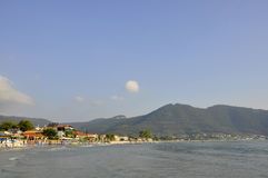 Thassos, August 19th: Sunrise Beach from Thassos island in Greece Royalty Free Stock Image