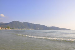 Thassos, August 19th: Sunrise Beach from Thassos island in Greece Royalty Free Stock Photo