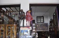 Thassos, 20 Augustus: Herinneringenwinkel in Potos-dorp van Thassos-eiland in Griekenland Stock Afbeelding