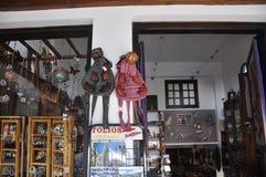 Thassos, 20 Augustus: Herinneringenwinkel in Potos-dorp van Thassos-eiland in Griekenland Royalty-vrije Stock Foto