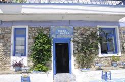 Thassos, 20 Augustus: Oude Pizzeria in Potos-dorp van Thassos-eiland in Griekenland Stock Foto
