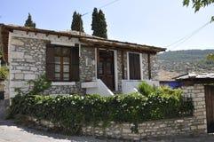 Thassos, 23 Augustus: Traditioneel Huis in Theologos-Dorp van Thassos-eiland in Griekenland Stock Afbeeldingen