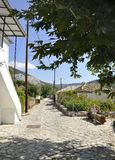 Thassos, el 23 de agosto: Opinión de la calle del pueblo de Theologos de la isla de Thassos en Grecia Imagenes de archivo
