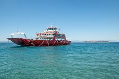 The Thassos ferry going to Thassos island on August 11 2018 in K royalty free stock photo
