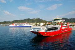 The Thassos ferry going to Thassos island Stock Image