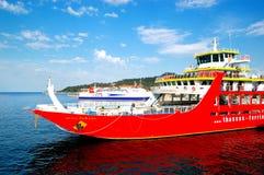 The Thassos ferry going to Thassos island Stock Image