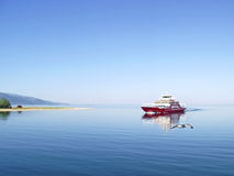 Thassos ferry Greece 6. Ferry boat sailing to Thassos and seagulls Stock Photography