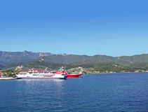 Thassos ferrys. Thasos ferry anchored near Limenas Stock Image