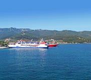 Thassos ferrys 3. Thasos ferry anchored near Limenas Royalty Free Stock Photo