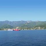 Thassos ferrys 4. Thasos ferry anchored near Limenas Stock Images