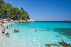 THASSOS, GRÈCE - 5 septembre 2016 - plage de marbre - plage de Saliara, île de Thassos, Grèce Photo libre de droits