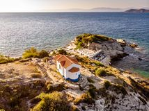 Thassos, Greece. Aerial view of one of the main tourist attraction on the island. Aerial image of a beach in Aegean sea shot using a drone royalty free stock photography